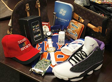 Counterfeit goods seized by the US government.