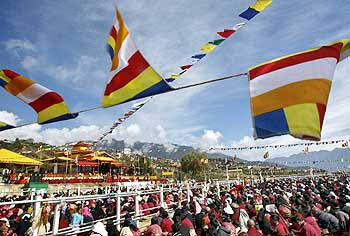 The Dalai Lama's followers gather to see him in Tawang, Arunachal Pradesh.