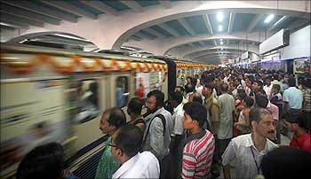 Passengers at a Metro station in Kolkata.