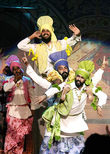 Punjabi youth performing the 'bhangra'.