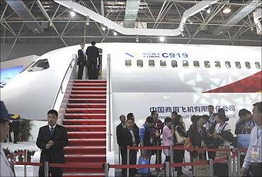 A full-size prototype of the China-made large passenger aircraft C919.