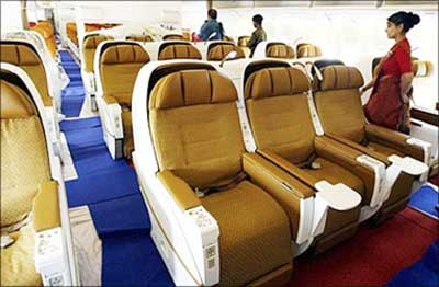 Interior view of Air India flight.