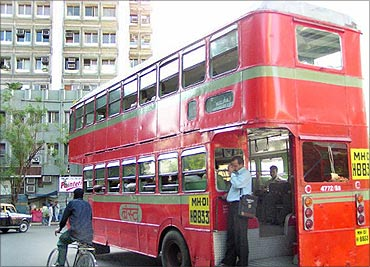 A double decker bus in Mumbai.