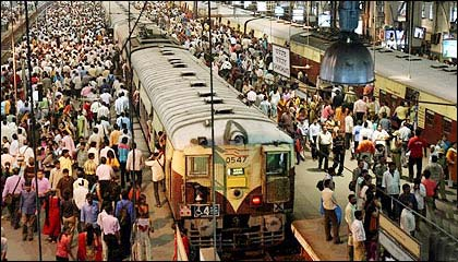 Local trains in Mumbai.