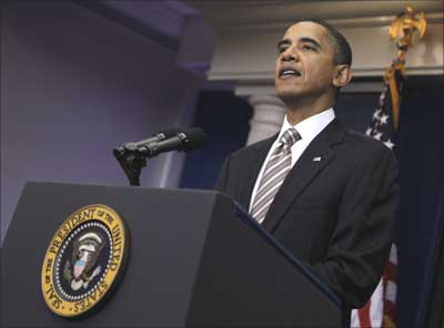 US President Barack Obama delivers a statement about General Motors' first day re-listing in the stock market, from the Brady Press Briefing Room of the White House in Washington.