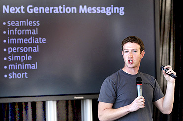 Facebook CEO Mark Zuckerberg unveils a new messaging system in in San Francisco.