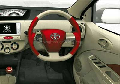 Interior of Toyota Etios.