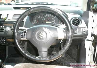 The steering wheel of Dzire.