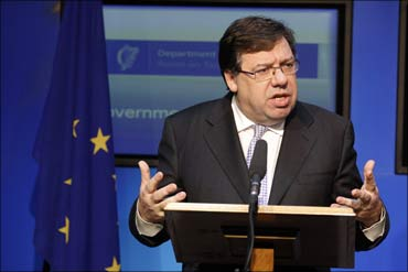 Irish prime minister Brian Cowen speaks to the media in Dublin.