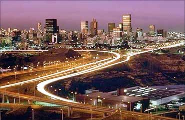 Johannesburg, by night.