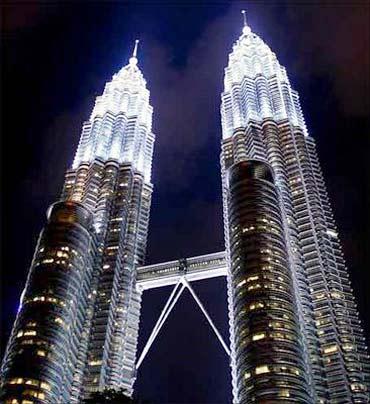 The Petronas Towers in Kuala Lumpur.