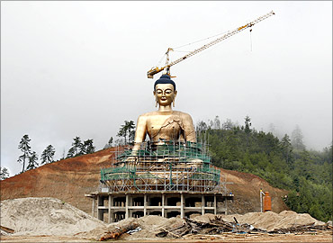 An under-constructed statue of Buddha is pictured at Kuensel Phodrang in Thimphu.