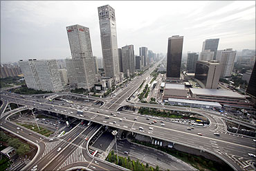 A general view of the office buildings and Guomao Bridge (bottom) in Beijing's Central Business Dist