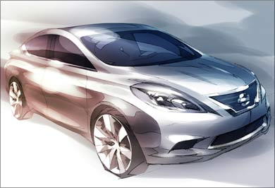 A sketch of the new global Sedan based on the Nissan's 'V' platform.