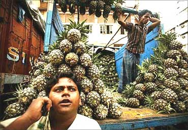 A pineapple fruit seller in Kolkata speaks on a mobile phone.