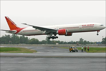 An Air India flight takes off.