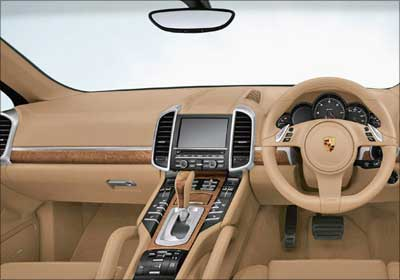 An interior view of Porsche Cayenne.