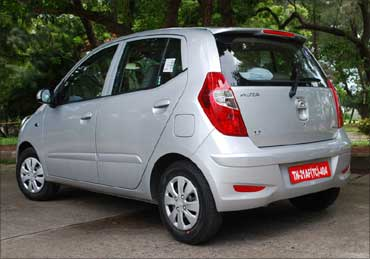 The rear view of Hyundai i10.