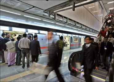 Passengers at an underground metro train station in New Delhi.