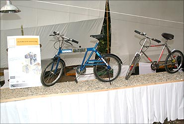 Sandeep's cycle at NIF innovation exhibition.