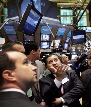 Brokers during a trading session.