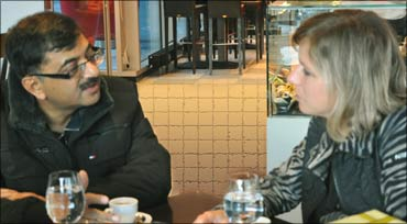 BJP MP Tarun Vijay with Christa Markwalder in Zurich.