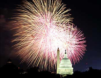 Fireworks sparkle over the Capitol in Washington.