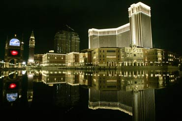 A night view of the Venetian Macao Resort Hotel is seen in Macau.