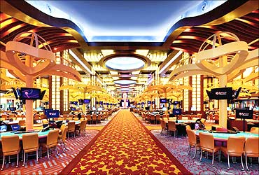 Interior of the Resorts World Sentosa casino on Singapore's Sentosa Island.
