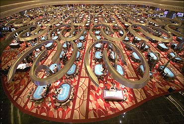 The main gambling floor of the Marina Bay Sands casino in Singapore.