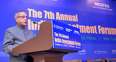 Finance Minister Pranab Mukherjee delivers keynote address at the 7th Annual India Investment Forum.