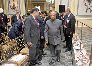 Pranab Mukherjee in New York.