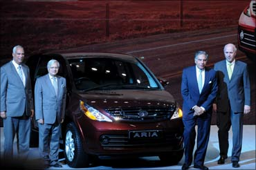 Tata Group chairman Ratan Tata at the launch of the Tata Aria.