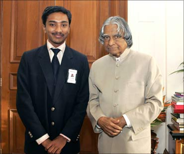 Suhas Gopinath with former President APJ Abdul Kalam.