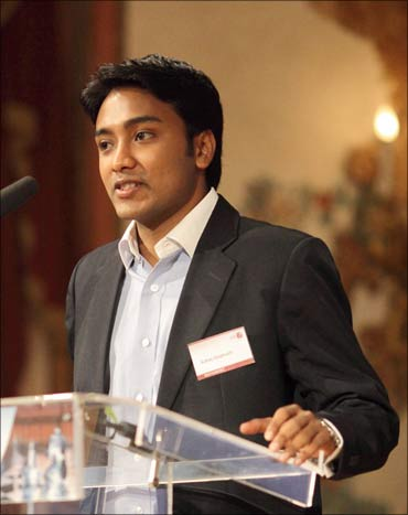 Suhas Gopinath speaking at a students' conference in Austria.