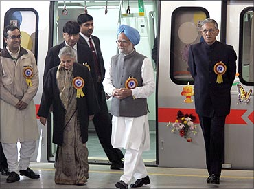 Prime Minister Manmohan Singh during the inauguration of the Delhi metro rail line.
