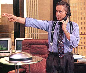 Hollywood actor Micheal Douglas as Gordon Gekko in the film Wall Street.