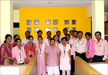 Medsynaptic team celebrating pink day.