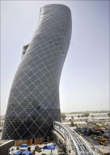 The Capital Gate building is seen in Abu Dhabi.
