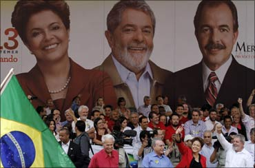 Brazil's President Luiz Inacio Lula da Silva waves to supporters in Campinas.