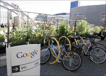 Employees use community bikes to travel around Google headquarters in Mountain View, California.