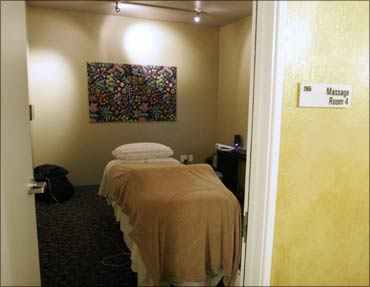 One of many massage rooms on campus.