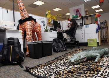 A Google employee works in a new downtown office in San Francisco, California.