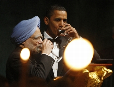 President Obama with prime minister Manmohan Singh.
