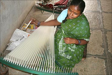 A weaver at work.