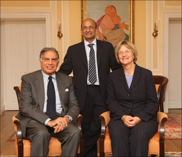 Ratan Tata, HBS Dean Nitin Nohria, and Harvard University president Drew Faust at HBS.