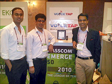 Voicetap team members with Mrigank (R).