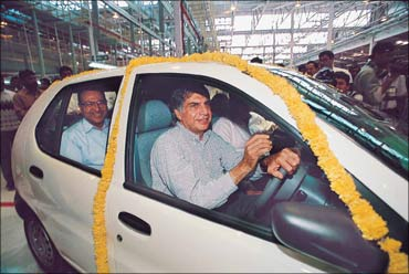 Tata driving the Indica.