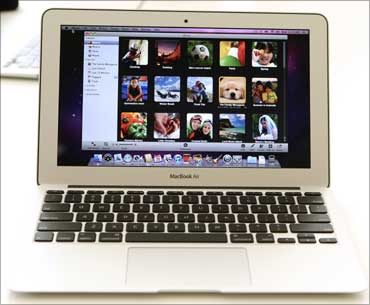 The latest MacBook Air 11-inch model is displayed at Apple Inc. headquarters in Cupertino.