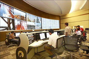 The control room of Reliance Industries' KG-D6 facility located in Andhra Pradesh.